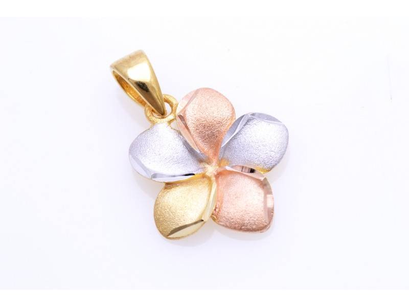 Bijuterii aur online - Medalioane dama din aur 14K alb, galben si roz floricica
