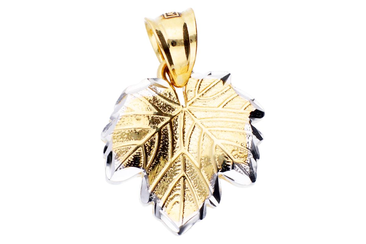 Bijuterii aur - Pandantive din aur 14K alb si galben frunzulita