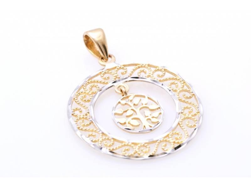 Medalion din aur alb si galben