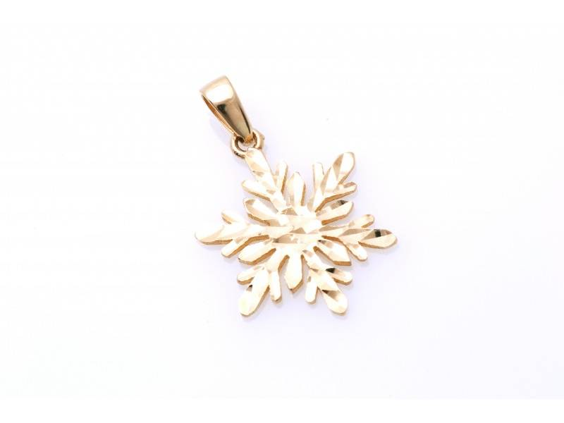 Medalion fulg de nea din aur galben