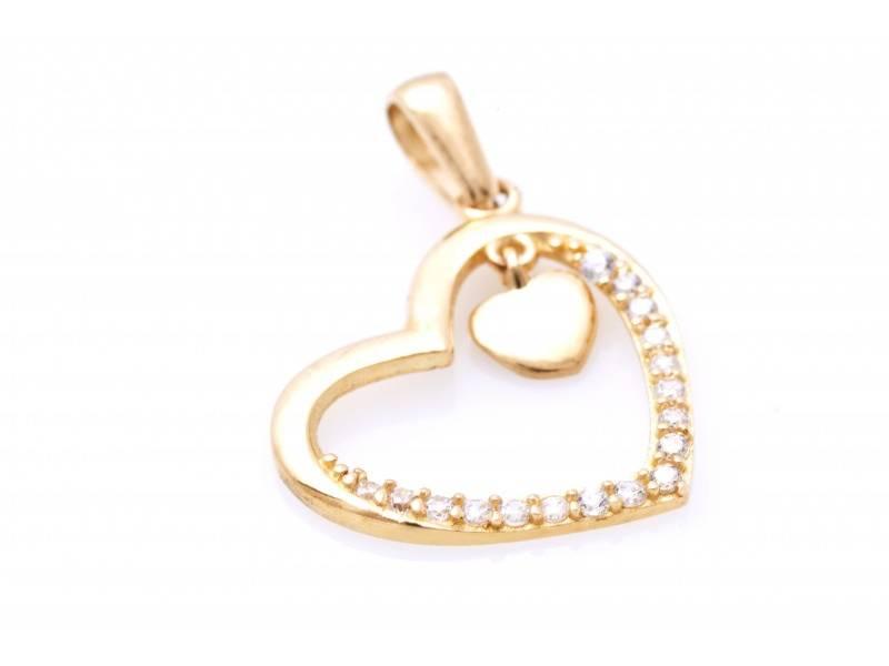 Medalion inimioara din aur galben si pietre zirconia