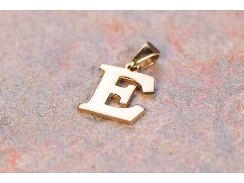 Bijuterii aur online - Pandantive din aur 14K galben initiala E