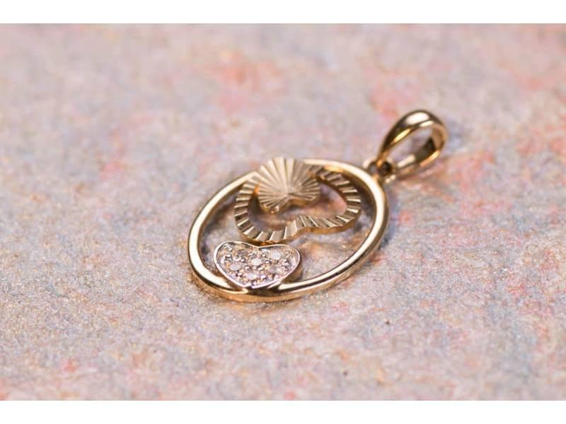 Pandant aur 14K cadouri bijuterii inimioara
