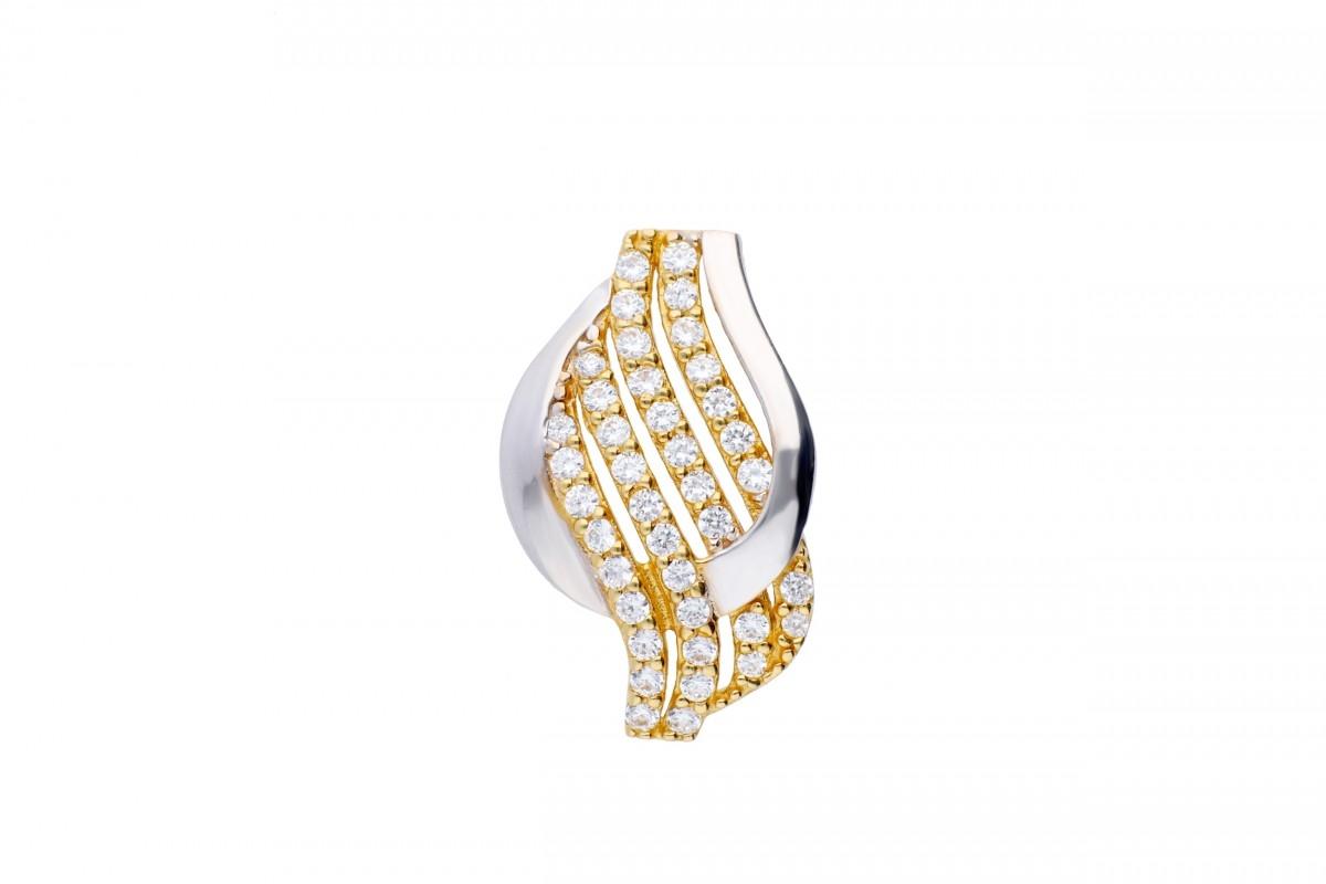 Bijuterii aur online - Medalion din aur 14K alb si galben