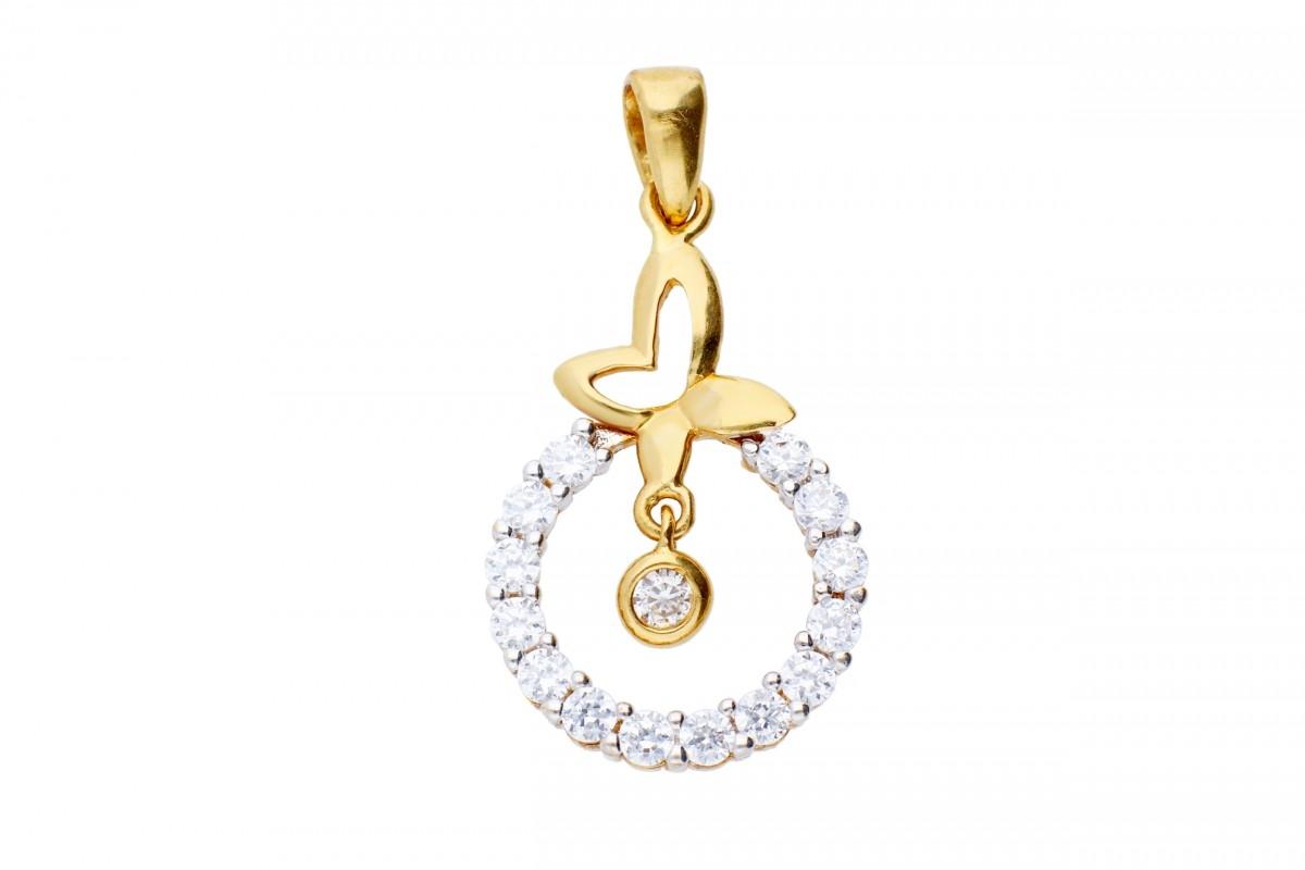 Bijuterii aur - Medalion dama din aur 14K galben fluturas