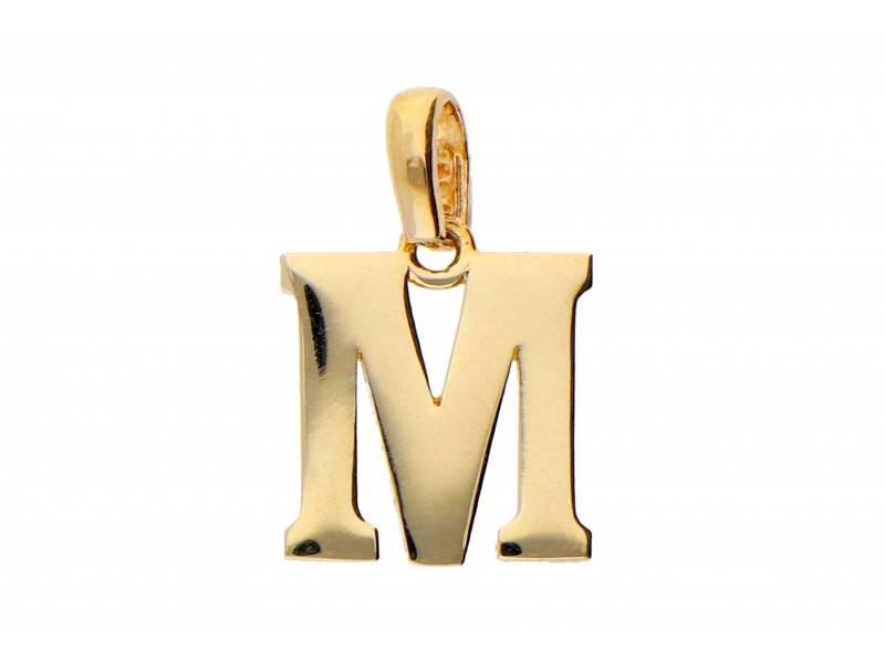 Pandant aur 14K initiala M