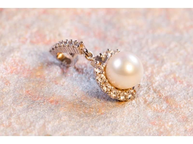Medalioane dama aur 14K alb perla de laborator