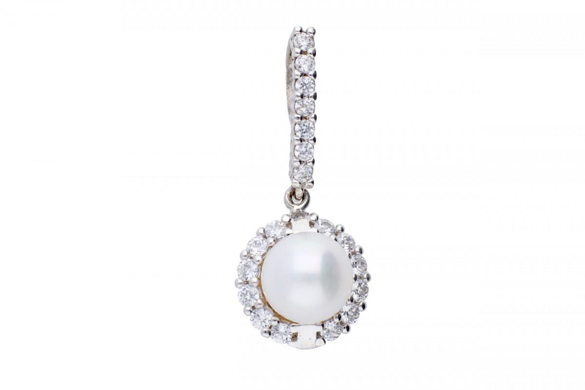 Pandant aur bijuterii cu zirconii si perla de laborator