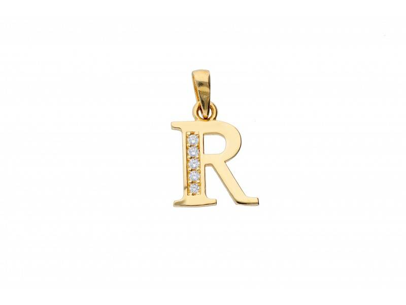 Pandant initiala aur 14k litera R