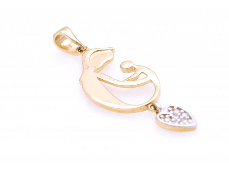 Bijuterii aur - Medalioane din aur 14K alb si galben mama si copil