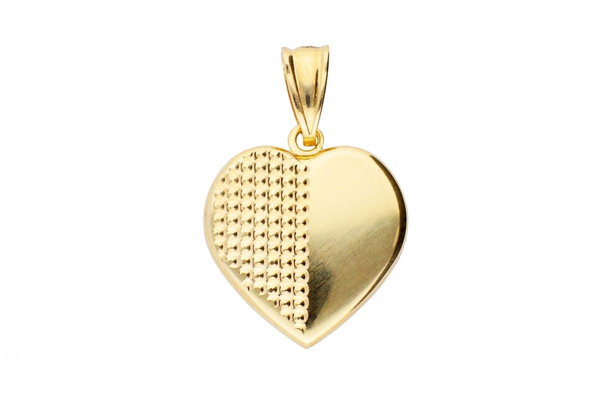 Bijuterii aur online - Medalion dama din aur 14K galben inimioara gravabila