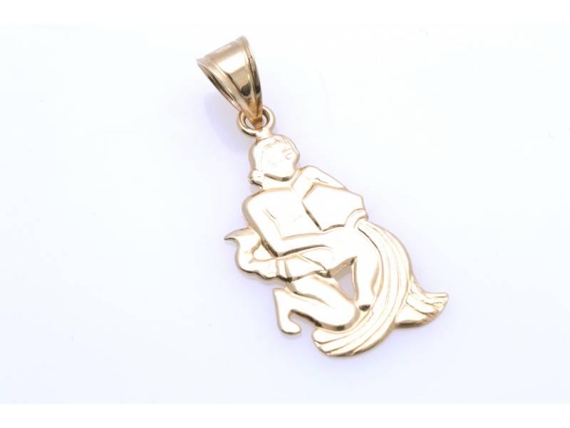 Bijuterii din aur - Medalion dama din aur 14K galben zodie varsator