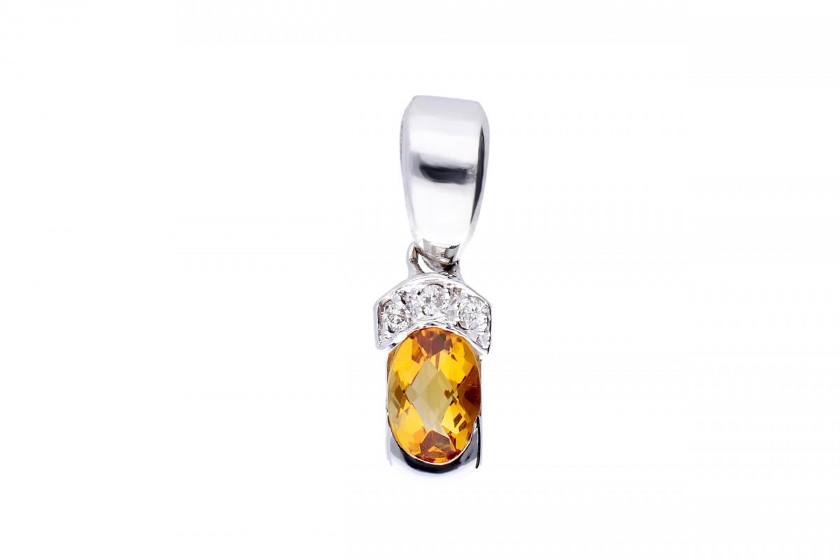 Bijuterii aur -Pandantiv dama aur 18K alb cu diamant si citrin