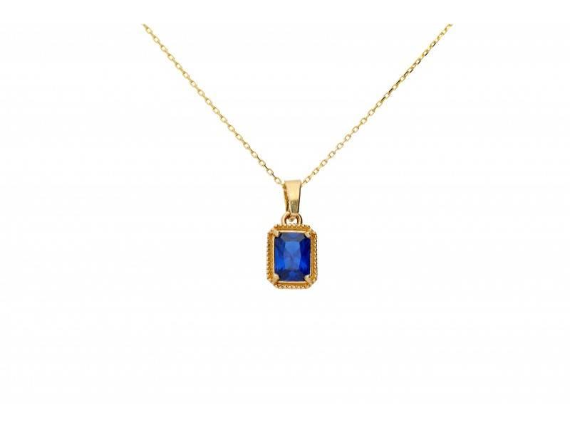 Pandantiv zirconia albastra bijuterii aur 14K