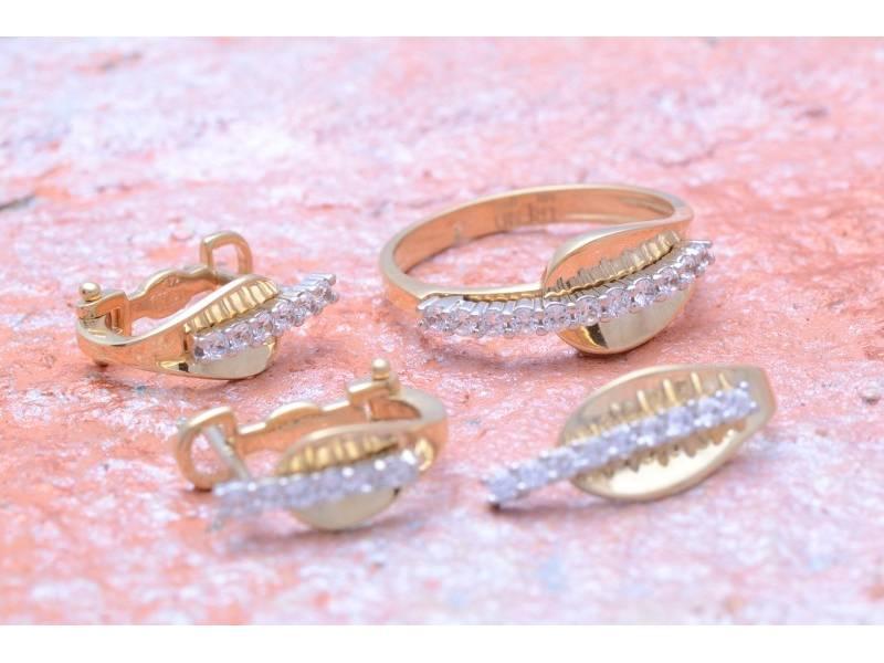 Set aur 14 k cadouri bijuterii cu zirconia