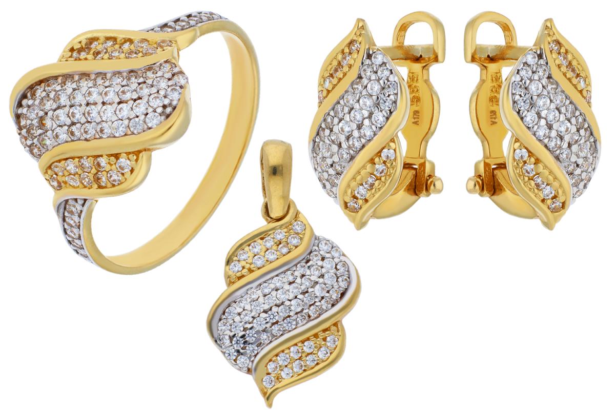 Set aur 14 k inel cercei pandant bijuterii cu zirconii
