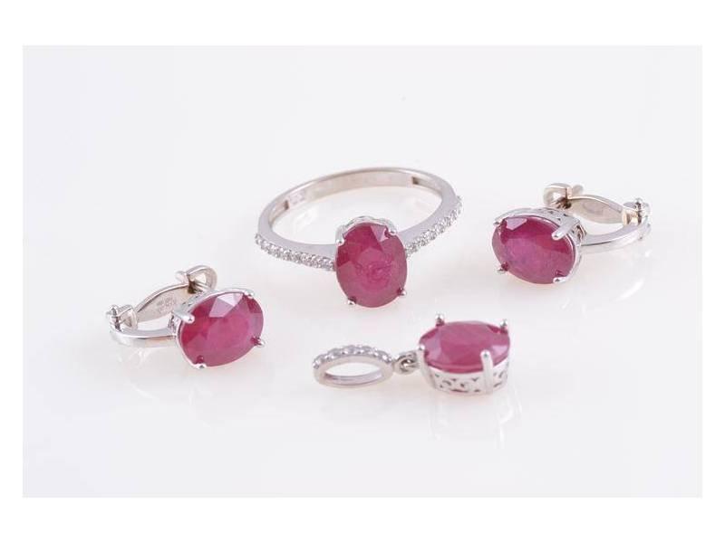 Set aur 14K cadouri bijuterii zirconia culoare rubin