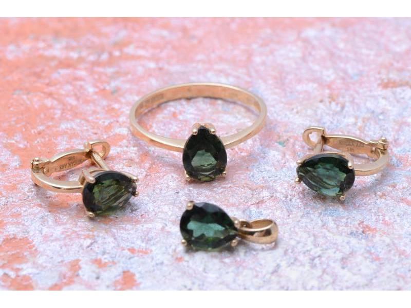 Set aur 14K inel,cercei si pandant cu zirconii verzi