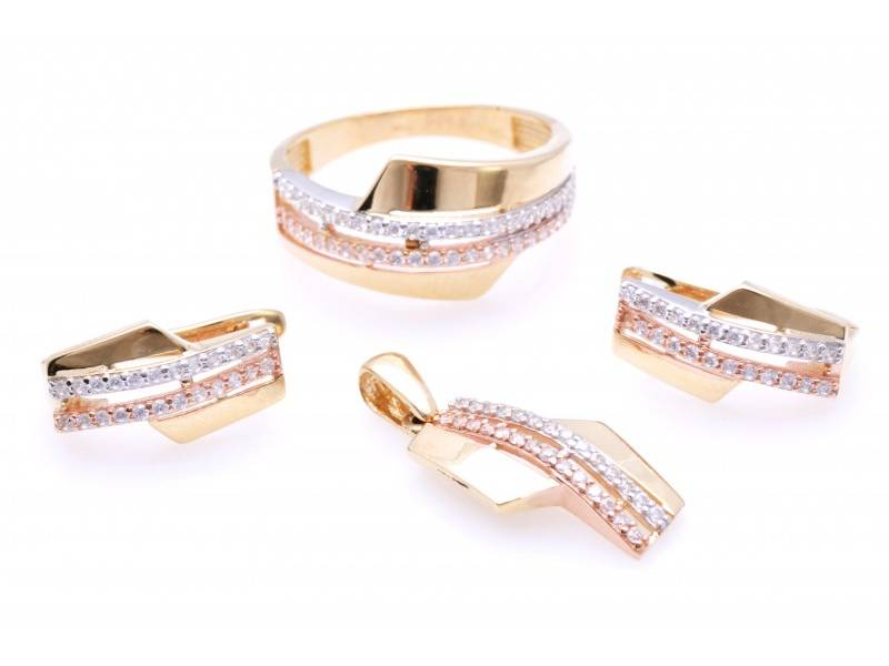 Set aur 14K inel, cercei, pandant cu zirconii