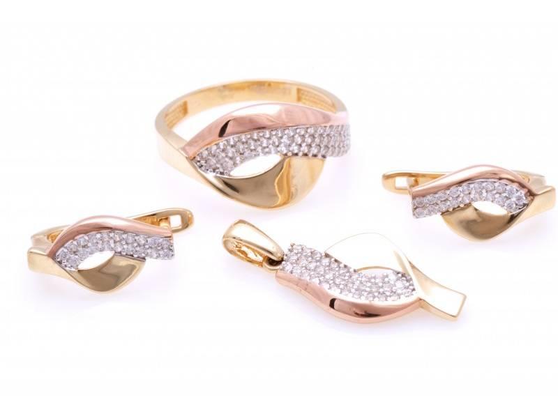 Bijuterii aur 14K set inel cercei pandant