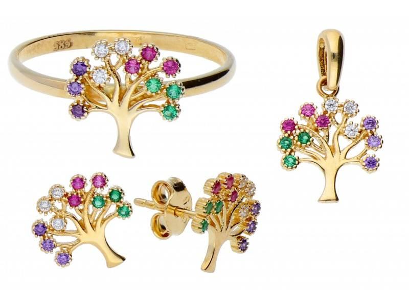 Set aur inel,cercei,pandant cu zirconii cadouri bijuterii deosebite pomul vietii