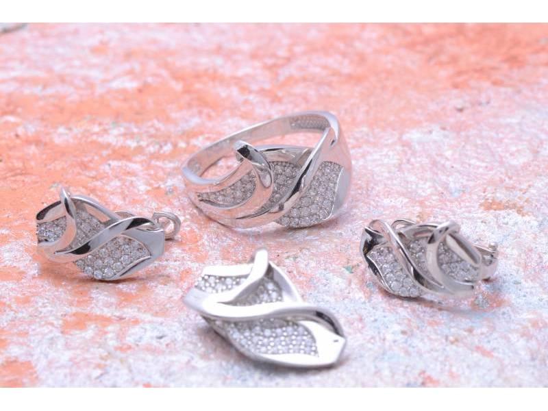 Set bijuterii aur alb inel,cercei si pandant cu zirconii