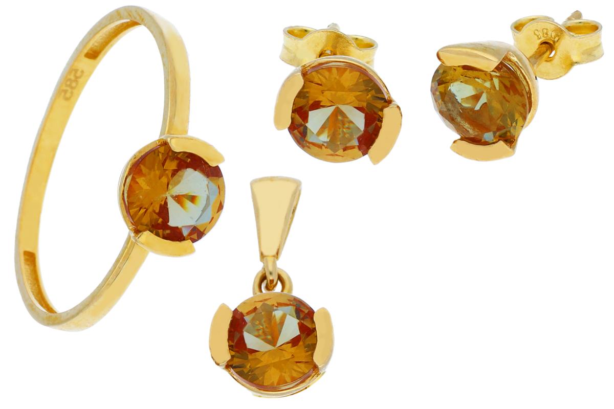 Set bijuterii din aur 14K cu zirconia colorata