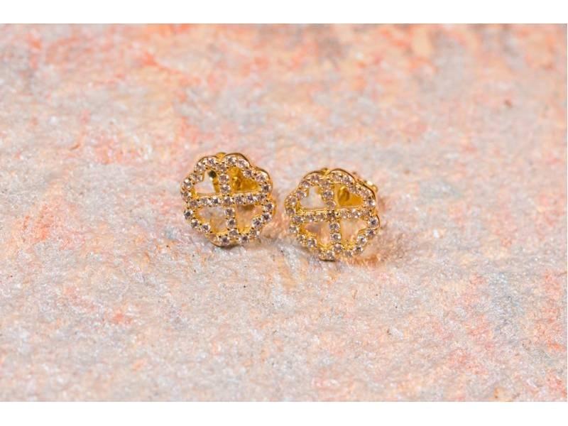 Set cercei, lant cu pandant trifoi bijuterii aur 14k