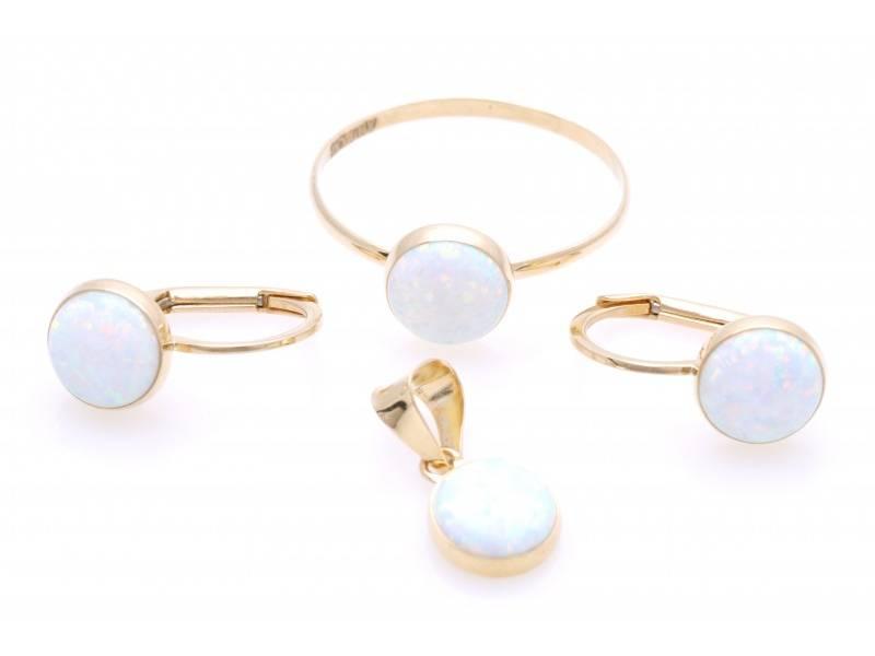 Set inel cercei pandant aur 14K opal