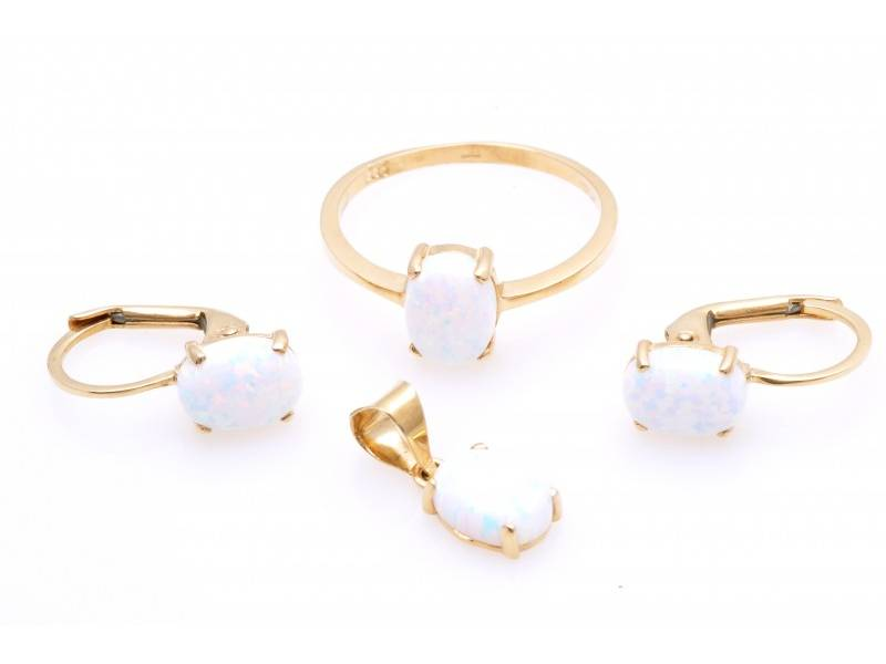Set inel cercei pandant aur opal