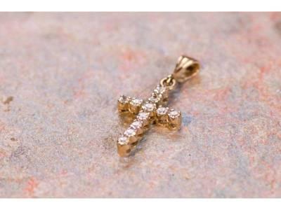 Bijuterii aur 14 k pandant cruce cu zirconii