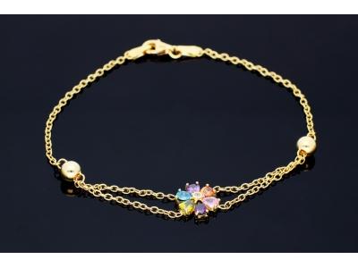 Bijuterii aur 14K bratara dama floricica zirconii colorate