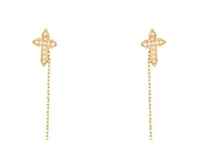 Bijuterii aur cercei cu lant pandant cruciulita