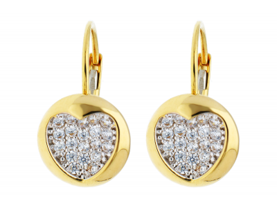 Bijuterii aur - Cercei tortite din aur 14K galben si alb inimioare
