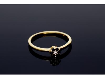 Bijuterii aur inel cu zirconii negre