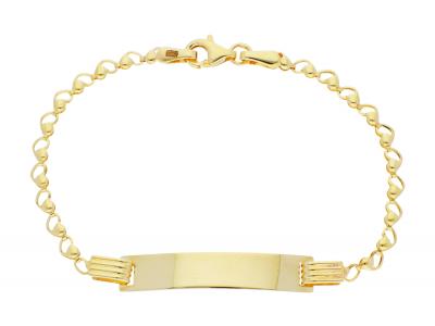 Bijuterii aur online - Bratara copii inimioare si placuta din aur 14K galben