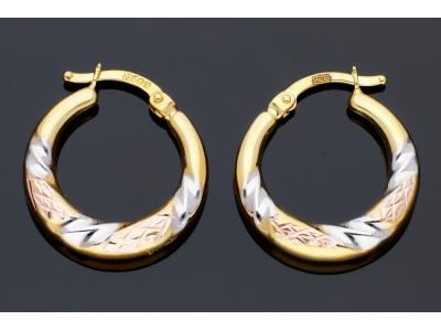 Bijuterii aur online - Cercei rotunzi dama aur 14K galben, alb si roz