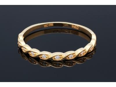 Bijuterii aur online - Inel dama din aur 14K galben minimalist si zirconii
