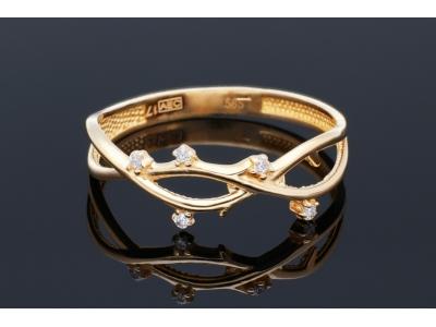 Bijuterii aur online - Inele aur 14K galben cu zirconii albe