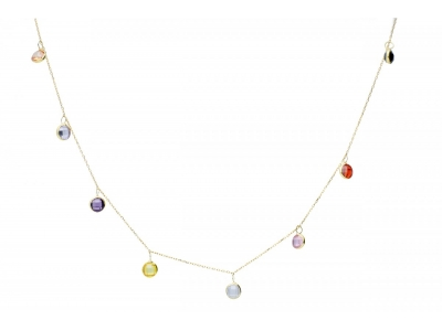 Bijuterii cadou aur lant cu zirconii colorate