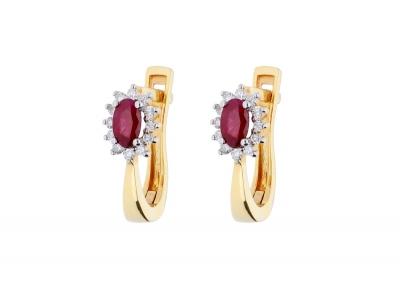 Bijuterii  cadou cercei aur 14k  cu diamante si rubin