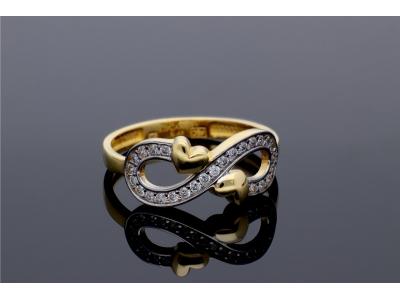 Bijuterii cadou inel aur infinit cu inimioare