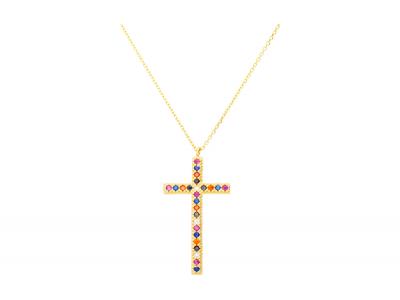 Bijuterii cadou lant aur cruciulita zirconii multicolore