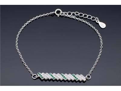 Bijuterii dama bratara argint cu zirconii verzi
