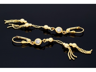 Bijuterii dama cercei aur 14k cu lant