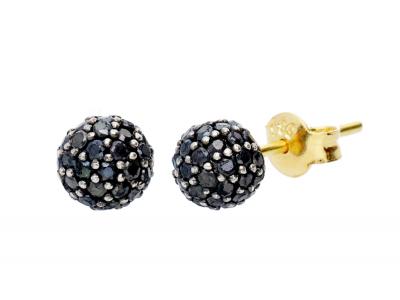 Bijuterii dama cercei aur bilute zirconii negre