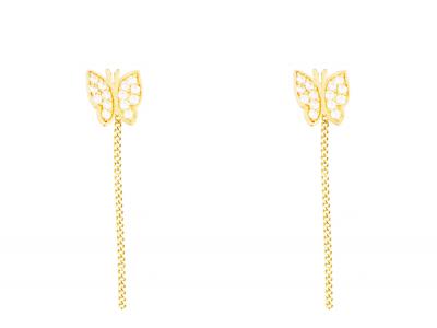 Bijuterii dama cercei cu lant aur 14k pandant fluturas