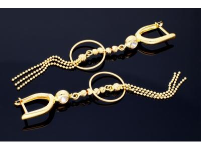 Bijuterii dama cercei cu pandant aur 14k