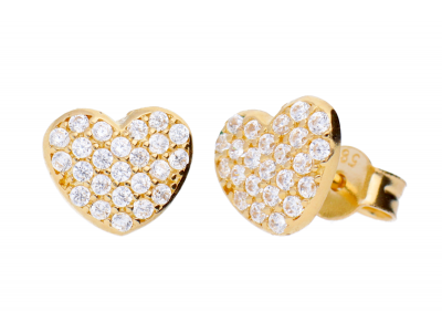 Bijuterii dama cercei cu surub din aur 14K inimioara