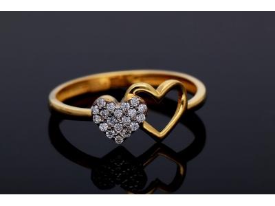 Bijuterii dama inel aur 14K inimioare